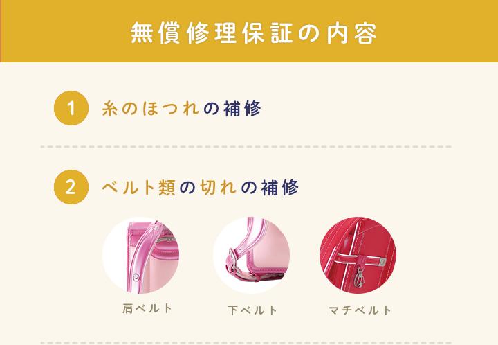 無償修理保証の内容 1.糸のほつれの補修 2.ベルト類の切れの補修(肩ベルト/下ベルト/マチベルト)